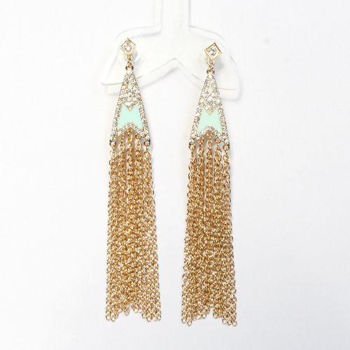 Mint tassle earrings