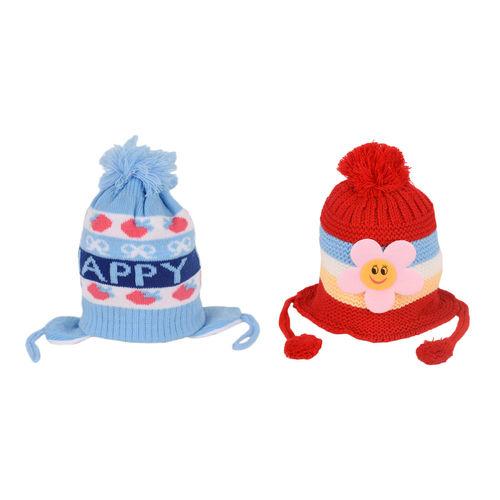 0a0c79aa20e A Combo Pack Of 2 Warm Woolen Designer Winter Caps For Kids ...