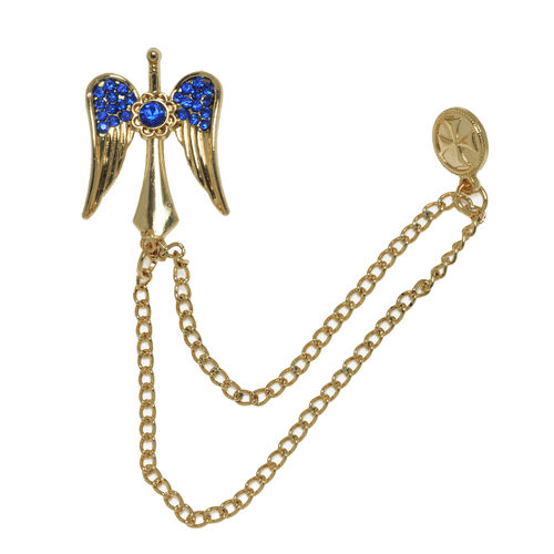 Embelished Blue Wings Tasseled Chain Gold Lapel Pin Brooch For Men In Gift  Box