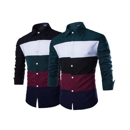 striped cotton shirts men set of 2 2 scsm01