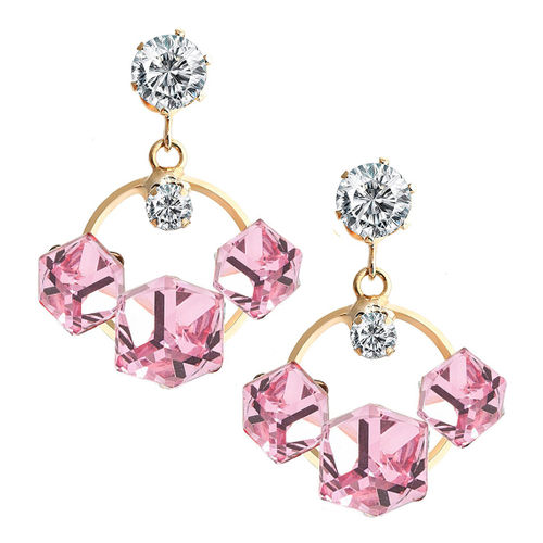 YouBella Fashion Jewellery Summer Special Crystal Stylish Fancy Party Wear Earrings for Girls and Women (Pink)