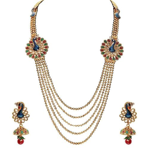YouBella Dancing Peacock Traditional Maharani Temple Necklace Set / Jewellery Set with Earrings for Women