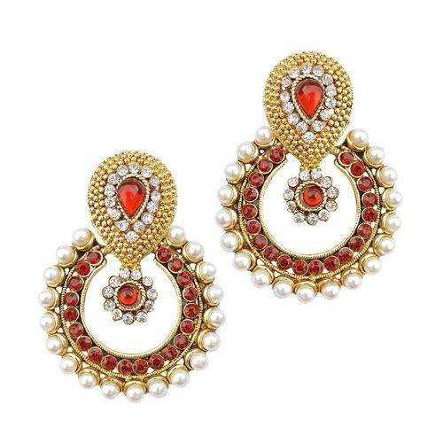 YouBella Designer Red Traditional Pearl Earrings
