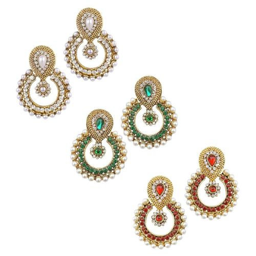 YouBella Combo of Three Designer Traditional Earrings