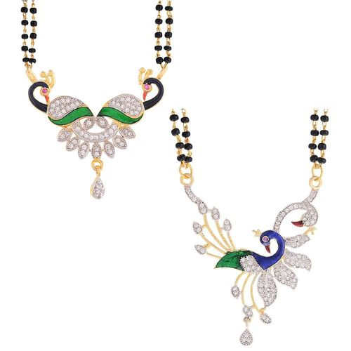 YouBella Women's Pride Collection Combo of Two Designer American Diamond Mangalsutra