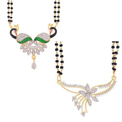 YouBella Women's Pride Collection Combo of Two Designer American Diamond Mangalsutra