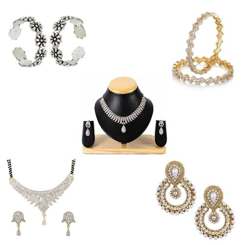 YouBella Women's Pride Collection Combo of 92.5 Sterling Silver Toe Ring, Gorgeous Necklace, Designer Mangalsutra, Traditional Chandbali Earring and Stylish Bangles