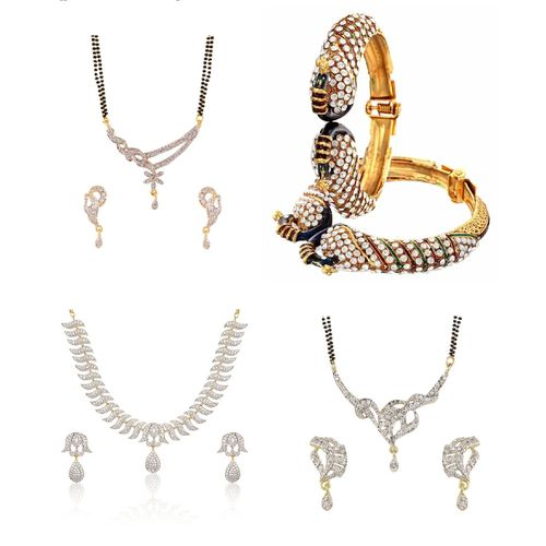 YouBella Pride Collection Combo of TWo Mangalsutra, Gorgeous Necklace and Stylish Bangles for Women