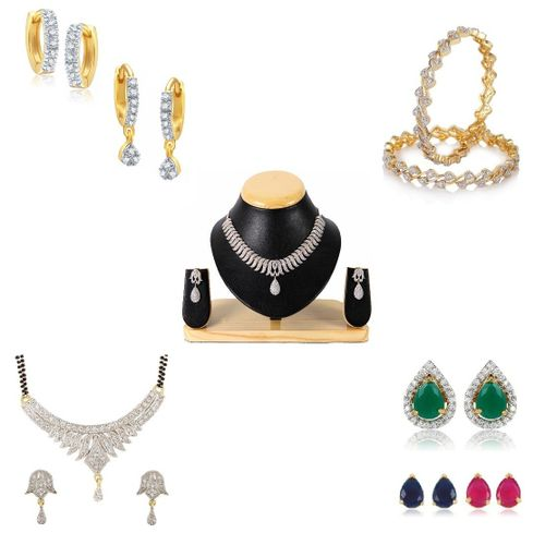 YouBella Pride Combo of Mangalsutra, Two Earrings, Interchangeable Earrings, Bangles and American Diamond Necklace for Women