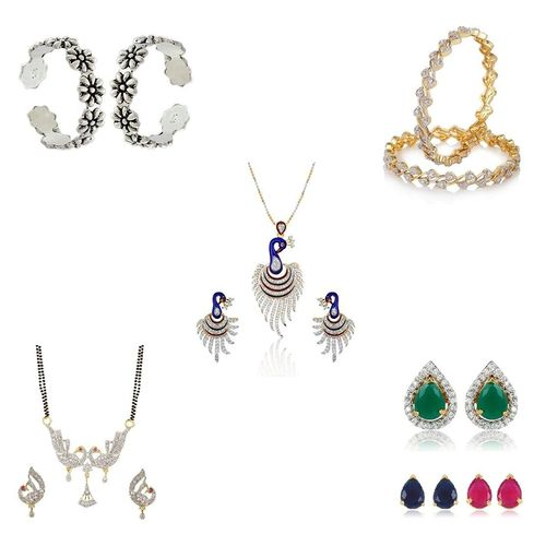 YouBella Women's Pride Combo of 92.5 Sterling Silver Toe Ring, Mangalsutra, Interchangeable earrings, Bangles and Peacock Pendant