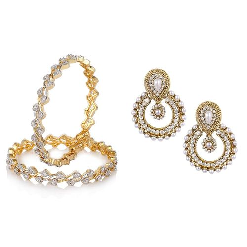YouBella Women's Pride Collection Combo of Traditional Chandbali Earring and Stylish Bangles