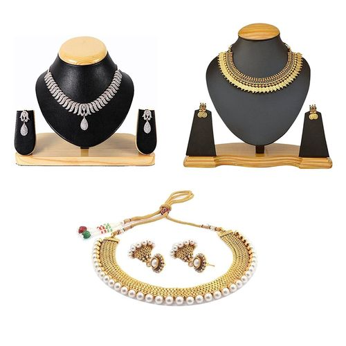 YouBella All Time Best Sellers Combo of American Diamond Jewellery Set , Red Green Traditional Temple Coin Necklace Set and Traditional Pearl Necklace with Jhumki Earrings