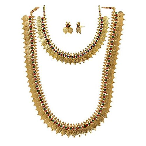 YouBella All Time Best Sellers Combo of Red Green Long Traditional Maharani Coin Jewellery set and Red Green coin Necklace Set