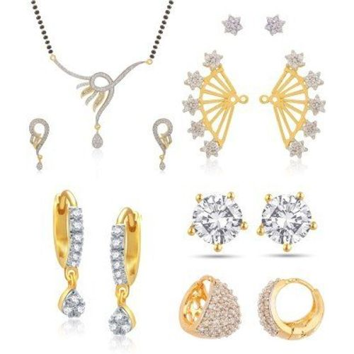 YouBella Women's Pride Collection Combo of American Diamond Earcuff Earrings, Dancing Peacock Mangalsutra and earrings