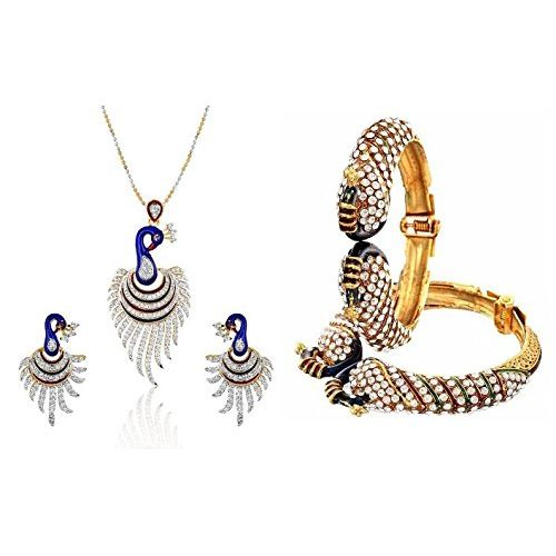 YouBella American Diamond Jewellery  Combo of Dancing Peacock Bangles and Pendant set With Chain and Earrings