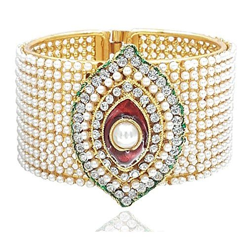 YouBella Traditional Style Jewellery Gold Plated Pearl Studded Kara Bangle for Women and Girls
