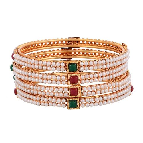 YouBella Traditional Gold Plated Pearl Bangles For Women