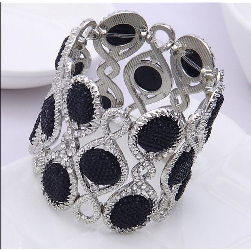 Black-Silver Stylish Adjustable Size Bracelet