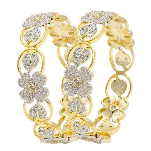 YouBella American Diamond Floral Shape Gold Plated Bangles For Women