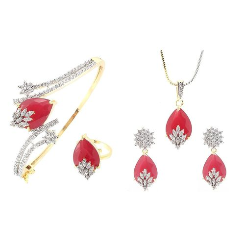 YouBella Signature Collection American Diamond Combo of Pendant with Earrings, Bracelet and Ring (RED)