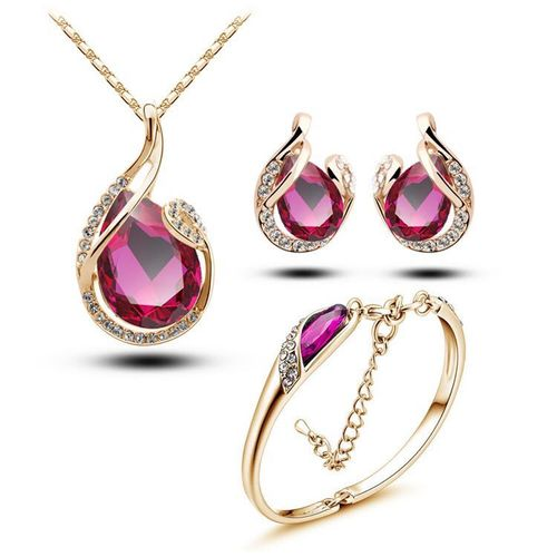 Fascinating Golden Pink Water Drop Shaped Pendant Set with Earrings and Bracelet