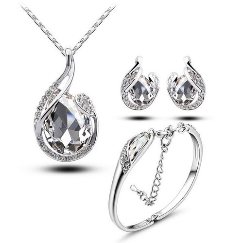 Marvelous Silver White Water Drop Shaped Pendant Set with Earrings and Bracelet