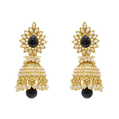 YouBella Traditional Copper Bollywood Style Pearl Jhumki Earrings (Black)