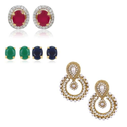 YouBella Combo of Designer Traditional Pearl and 6 in 1 Interchangeable Earrings