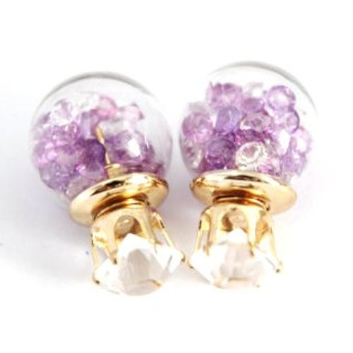Classy Glass Ball Shaped Purple Crystal Two Sided Earrings