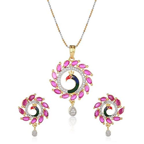 YouBella Gold Plated American Diamond Peacock Design Pendant Set / Necklace Set with Earrings for Girls and Women