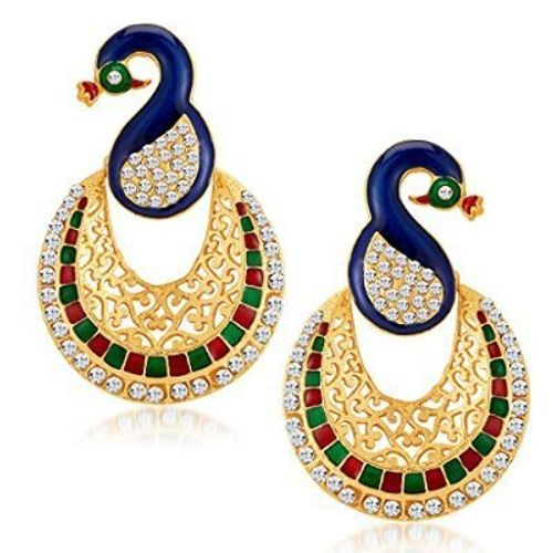 YouBella Traditional Dancing Peacock Gold Plated Jewellery Pearl Jhumka / Jhumki Earrings for Girls and Women
