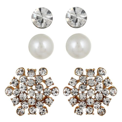 YouBella Jewellery Combo of Crystal and Pearl Earrings for Girls and Women
