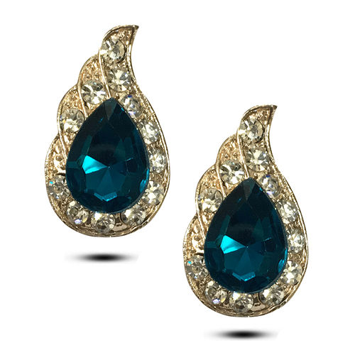 Blue crsytals and Zircon studded Earrings