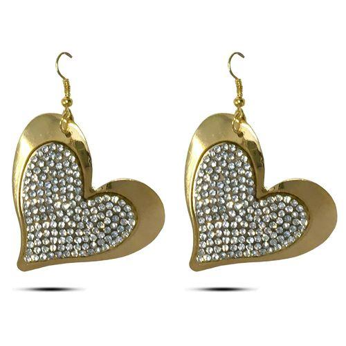 Flaming Golden Heart Patterned Earring