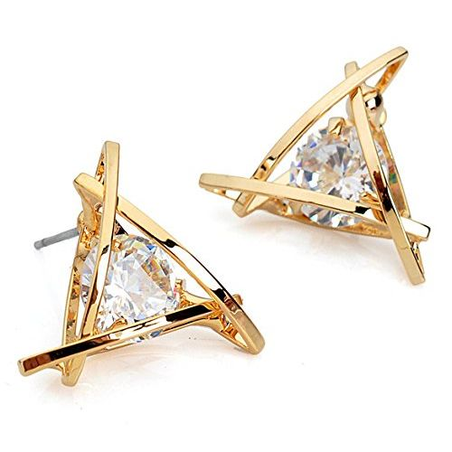 Glitzy Prism Shaped CZ Solitaire Embellished Earring