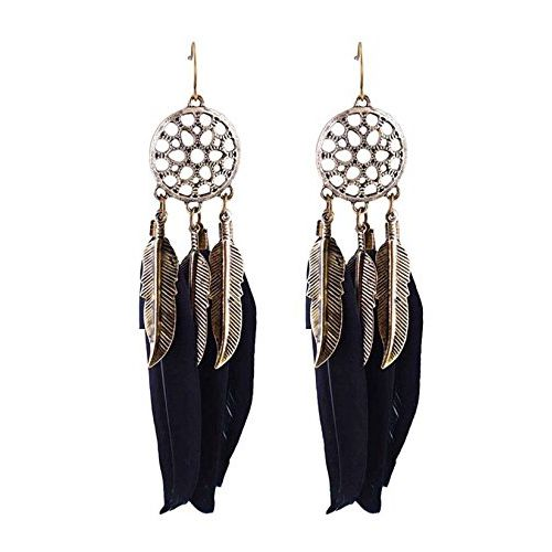 Burnish Black Quill Silver Plated Earring