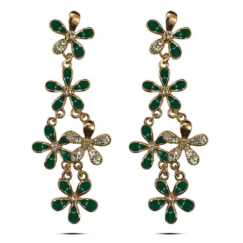 Green Leafy CZ Incised Gold Plated Earrings