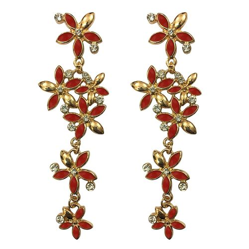 Apple Red Blossomy Gold Plated Earrings