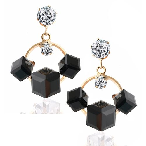 YouBella Fashion Jewellery Summer Special Crystal Stylish Fancy Party Wear Earrings for Girls and Women (Black)