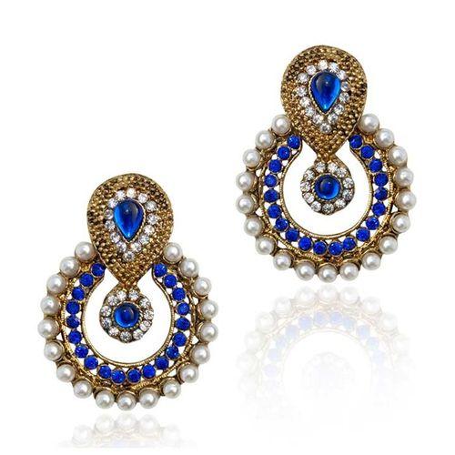 YouBella Ethnic Traditional Pearl Chandbali Earrings (Blue)