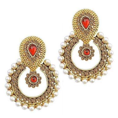 YouBella Ethnic Traditional Pearl Chandbali Earrings (Champagne-Red)