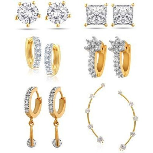 Youbella Gold-Plated Hoop Earrings For Women/Girls(Combo Of 6)