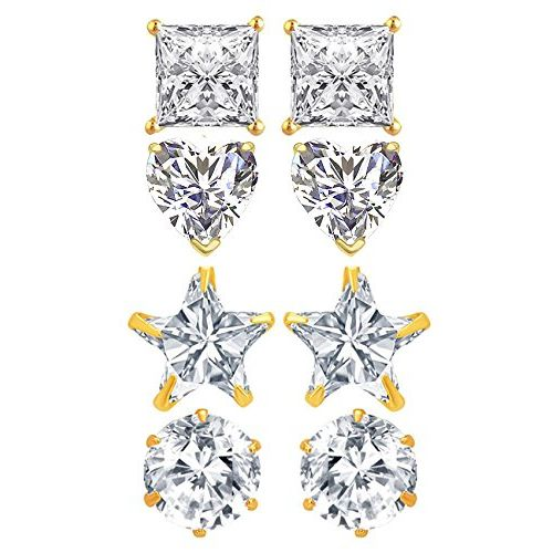 YouBella Fashion Jewellery Combo of 4 Gold Plated Stylish Fancy Party Wear Earrings for Girls and Women
