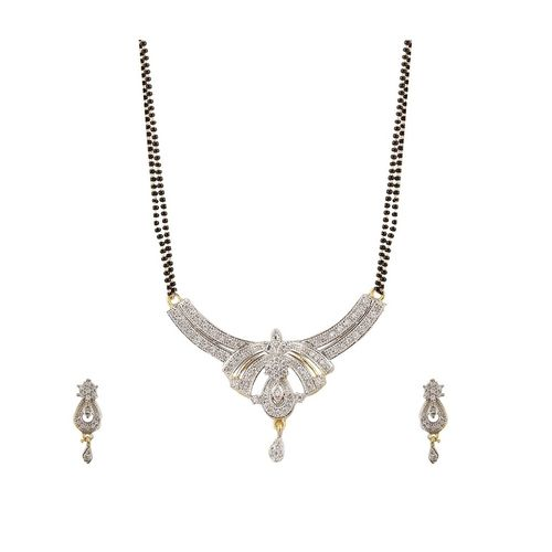 YouBella American Diamond Gold Plated Mangalsutra with Chain for Women