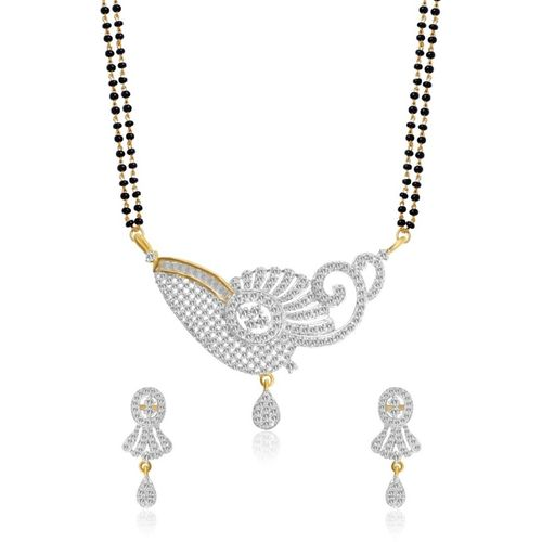 YouBella Women's Pride American Diamond Gold Plated Mangalsutra Pendant with Earrings