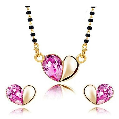 YouBella Jewellery Gold Plated Cute Heart Shaped Crystal Studded Mangalsutra Pendant with Chain and Earrings for Women