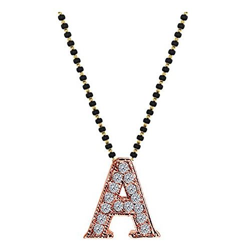 YouBella Designer Husband's Initials Mangalsutra Necklace Pendant with Chain for Women (