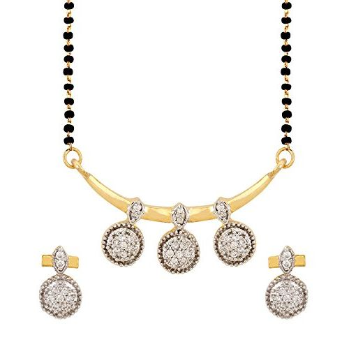 YouBella American Diamond Gold Plated Coin Mangalsutra Pendant with Chain and Earrings for Women