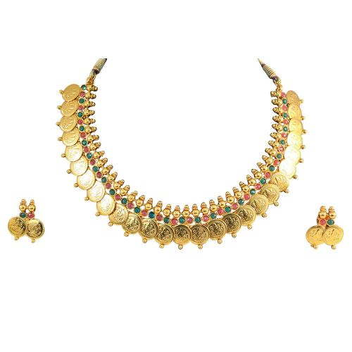 Youbella Traditional Gold Plate Red And Green Temple Coin Necklace Set With Earrings For Women