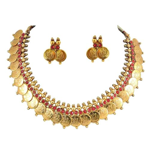 YouBella Traditional Red Temple coin Necklace Set for Women